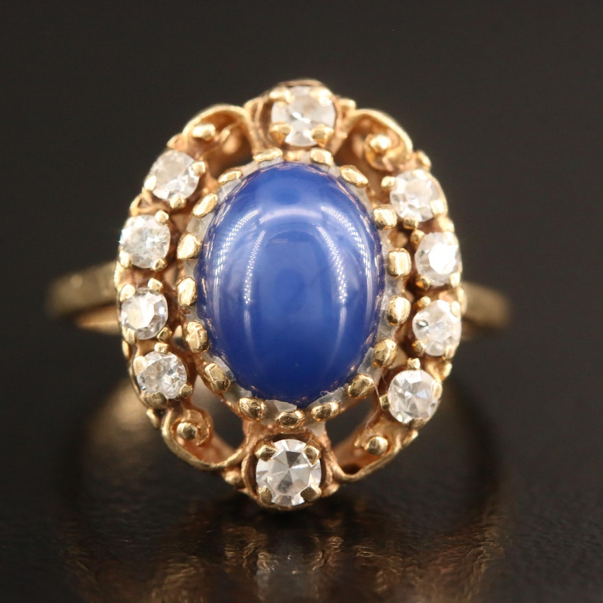 Vintage 14K Star Sapphire and Diamond Ring