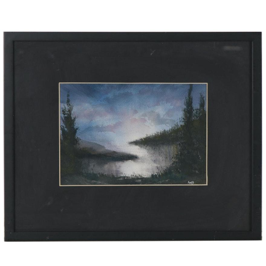 Joe Menza Nocturne Lake Landscape Watercolor Painting, 21st Century