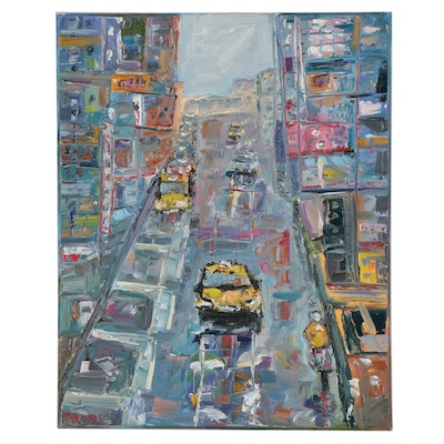 "Patricia Nolan-Brown Oil Painting ""City Street Vibes,"" 2020"
