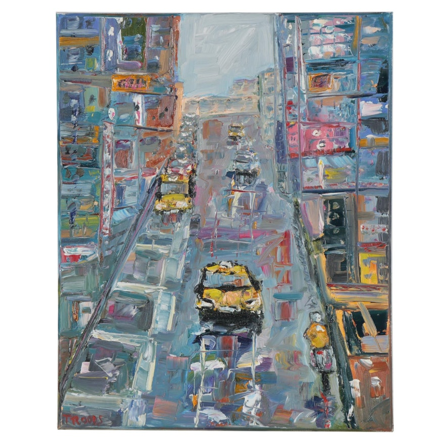 """Patricia Nolan-Brown Oil Painting """"City Street Vibes,"""" 2020"""