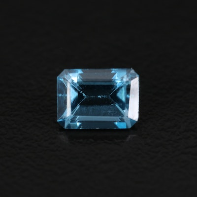 Loose 1.38 CT London Blue Topaz with Emerald Faceted Cut