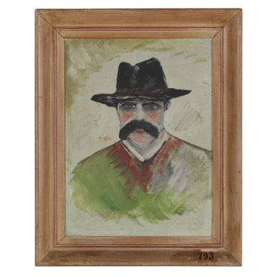 Samuel G. Shepherd Oil Portrait Painting of Man in Hat, 1944