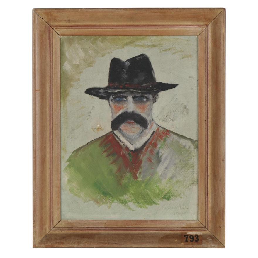 Samuel G. Shepherd Oil Portrait Painting of Man in Hat, 1944