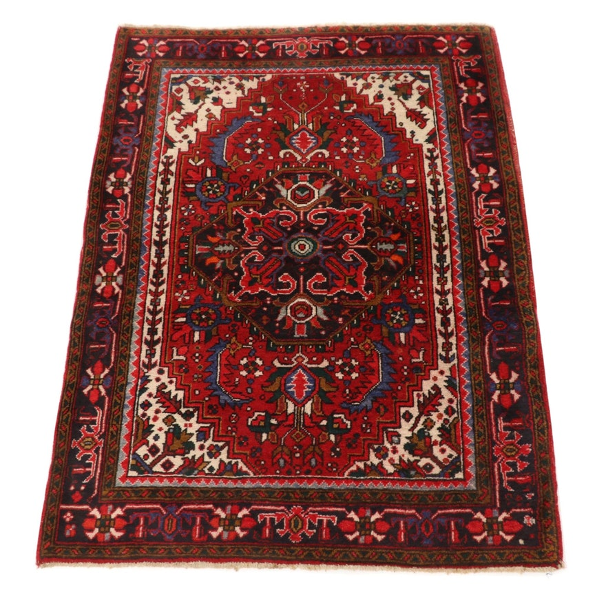 3'11 x 5'7 Hand-Knotted Persian Heriz Wool Rug