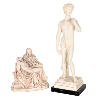 "G. Ruggeri Resin Sculptures after Michelangelo ""David"" and ""The Pietà"""