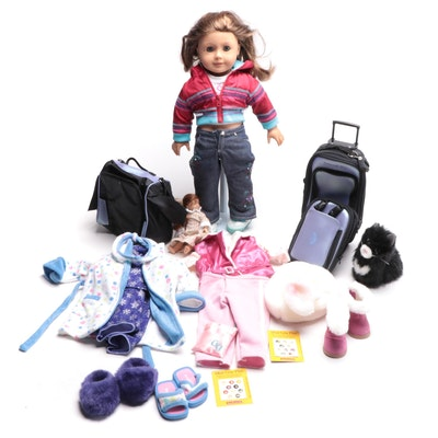 """American Girl Doll with Cat, Miniature """"Felicity"""" Doll, and Other Accessories"""