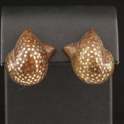 Patricia Von Musulin Wooden Clip Earrings with Dot Pattern