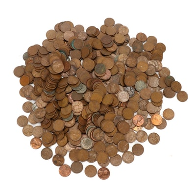 500 Lincoln Wheat Cents, 1930s-1950s