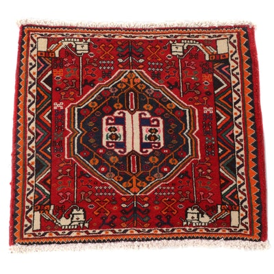 2'4 x 2'4 Hand-Knotted Persian Qashqai Wool Floor Mat