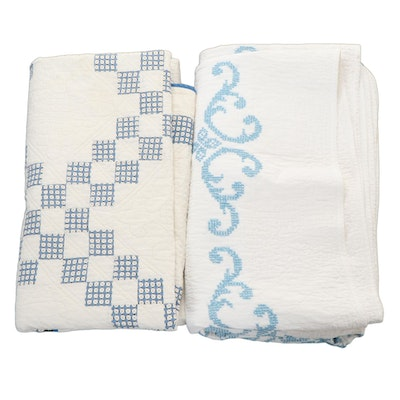 """Handcrafted Pieced """"Double Irish Chain"""" and Cross-Stitch Embroidered Quilts"""
