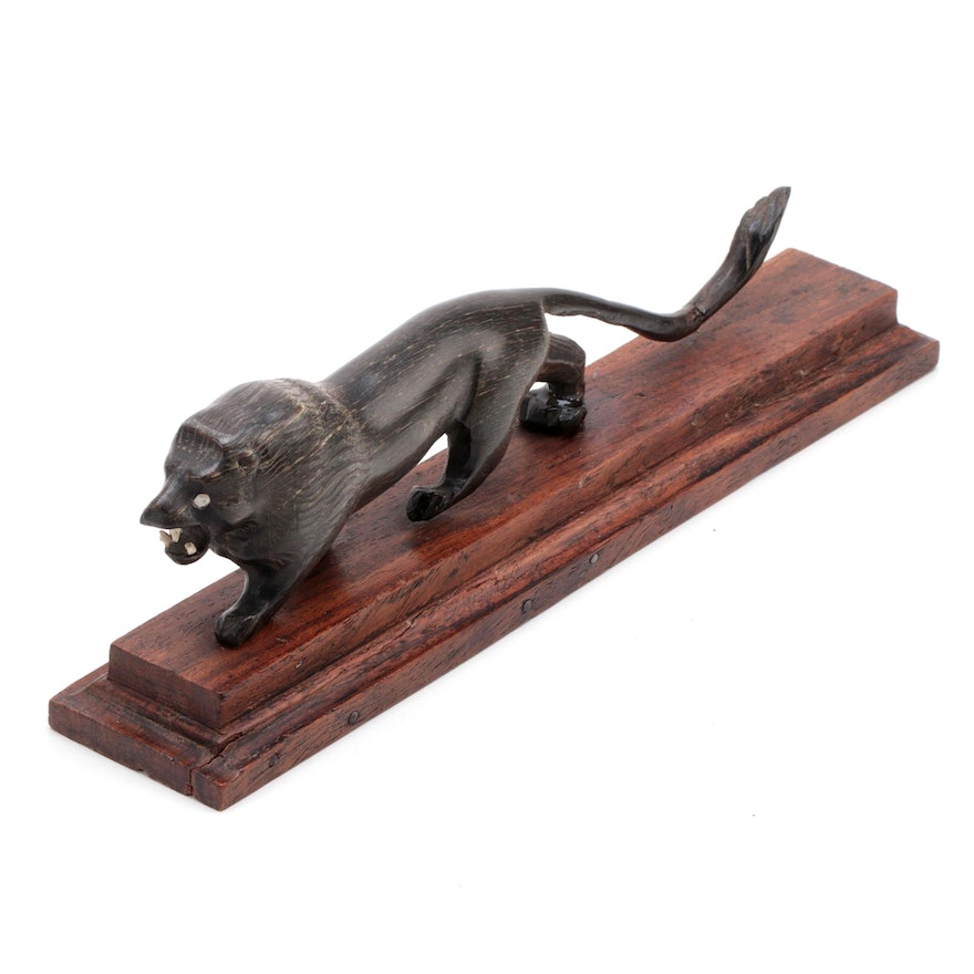 Hand-Carved Cattle Horn Figurine of a Stalking Lion
