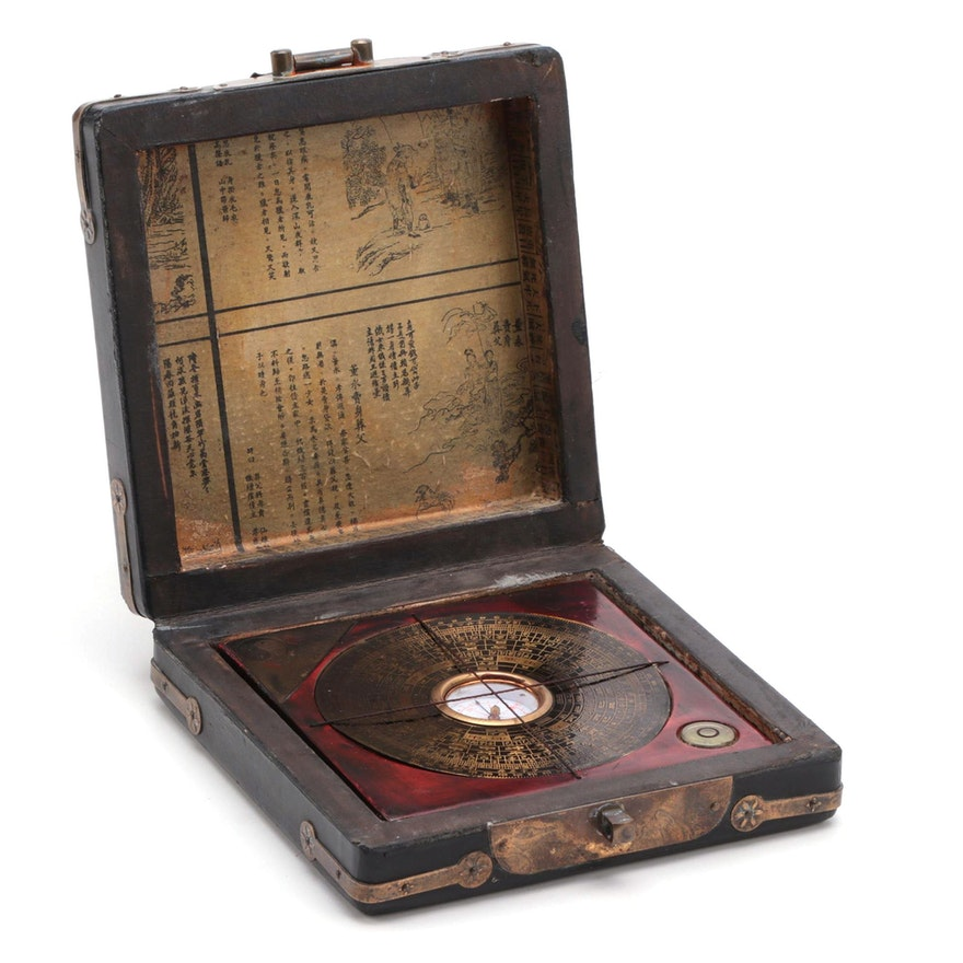 Chinese Luopan Feng Shui Magnetic Compass in Lacquered Wood and Leather Case