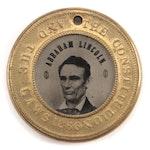 Abraham Lincoln Hannibal Hamlin Ferrotype Button, 1860