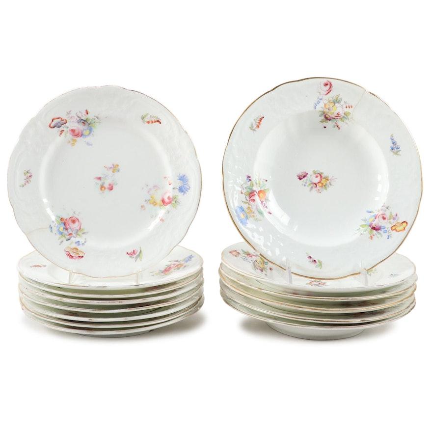 """Coalport """"Sevres Group"""" Porcelain Dinner Plates and Rimmed Bowls"""