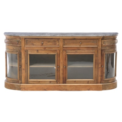 "Arhaus ""Kensington"" Bluestone Marble Top Buffet with Glass Door Fronts"