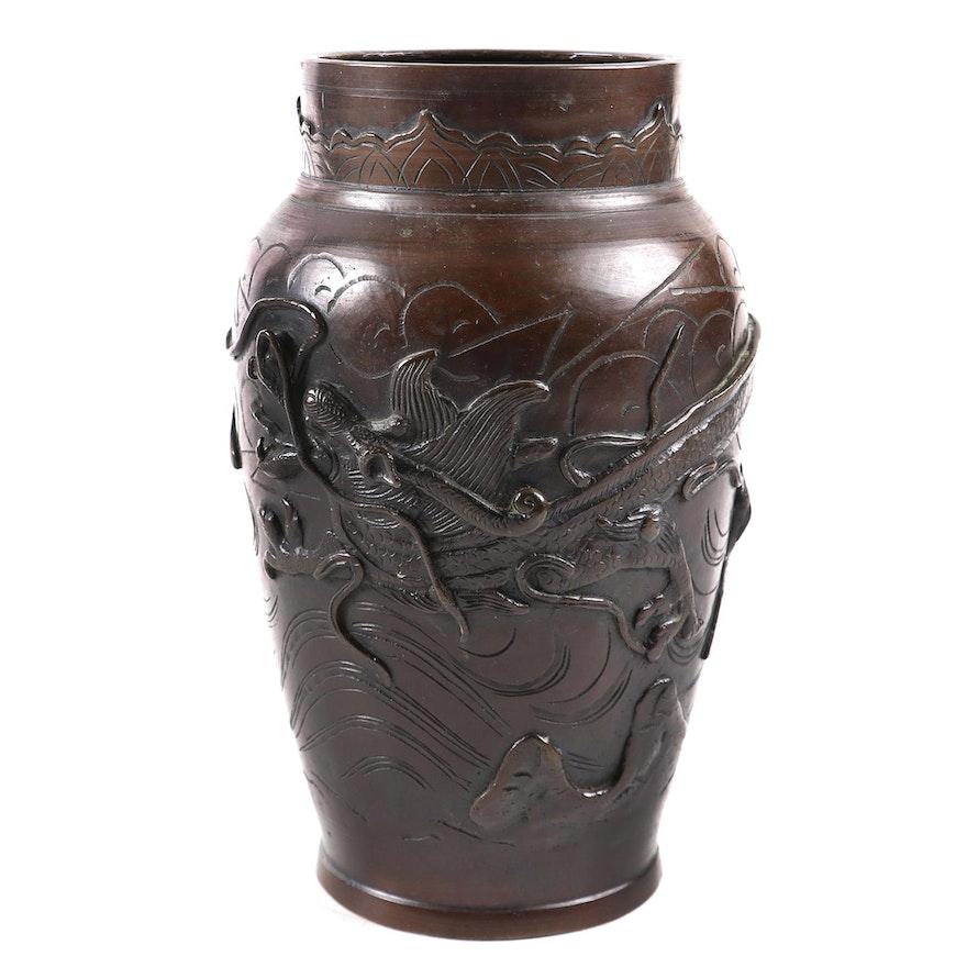 Japanese Phoenix and Dragon Embossed Bronze Vase, Late Meiji Period
