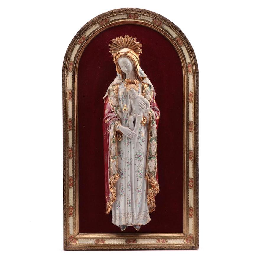 Eugenio Pattarino Madonna and Child Figural Group in Florentine Gilt Wood Frame