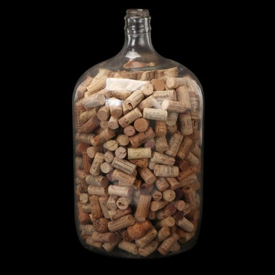Crystal Water Company Glass Distilled Water Bottle with Wine Corks