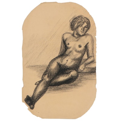 Charcoal Figure Drawing, Mid-Late 20th Century