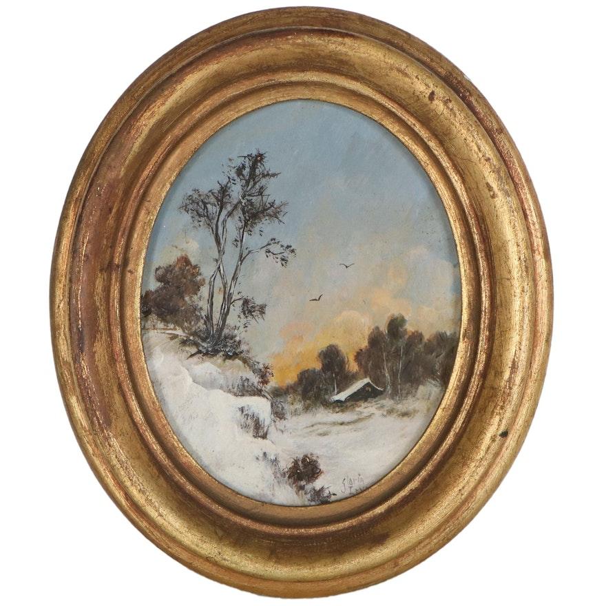 Gloria Irvine Miniature Oil Painting of Snowy Landscape, 20th Century