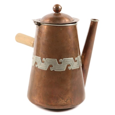 Artesanias Mexican Handcrafted Copper Chocolate Pot, Mid-20th Century