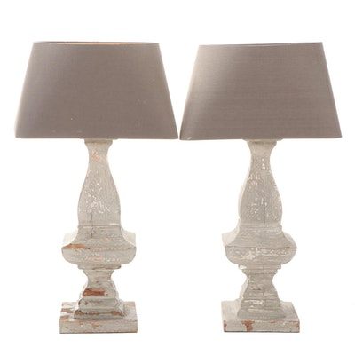 Pair of Painted Hardwood Baluster Converted Table Lamps