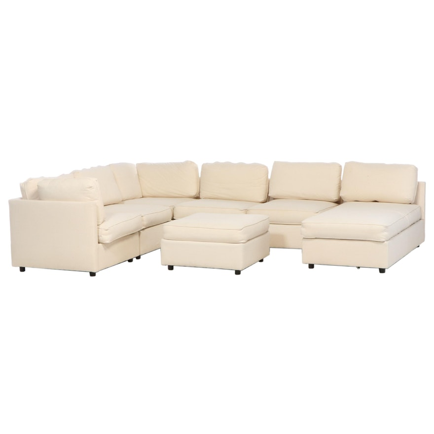 Contemporary Six-Piece Sectional Sofa in Cotton Duck