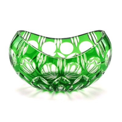 Emerald Green Cut to Clear Crystal Centerpiece Bowl, Late 20th Century