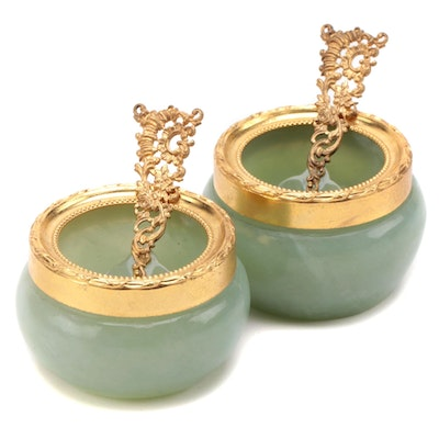 Carved Serpentine Salt Cellars and Spoons with Gilt Metal Accents