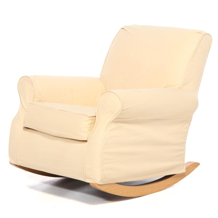 Pottery Barn Slip-Covered Rocking Armchair