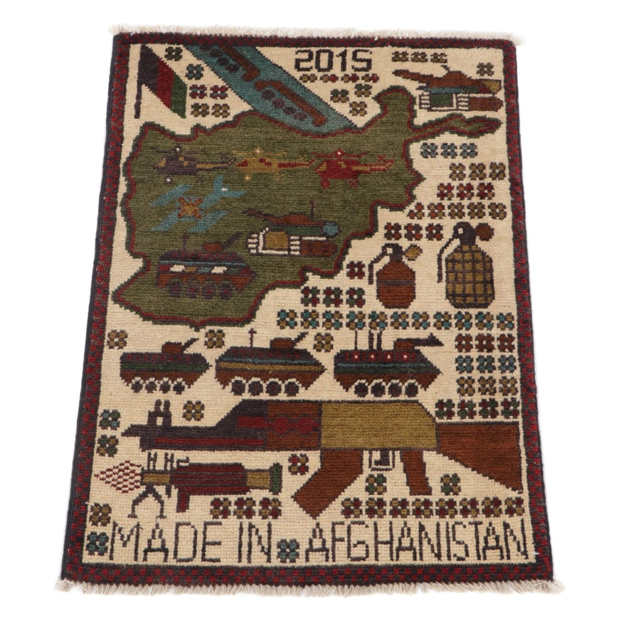 1'11 x 2'8 Hand-Knotted Afghan Pictorial War Rug