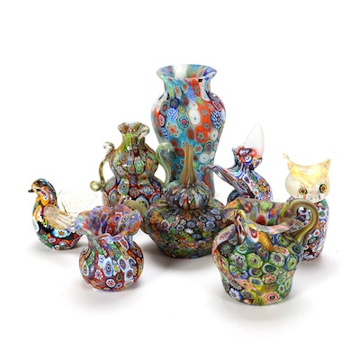 Italian Millefiori Art Glass Vases and Figurines, Mid to Late 20th C.