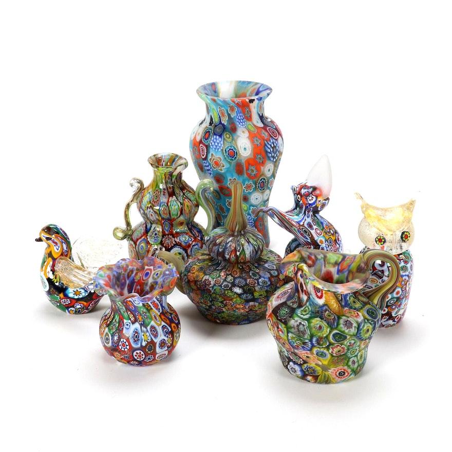Italian Millefiori Art Glass Vases and Figurines, Mid to Late 20th C.