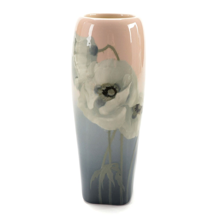 Sara Sax for Rookwood Pottery Ceramic Vase with White Poppy Motif, 1906