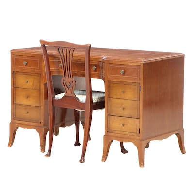George III Style Satinwood Double-Pedestal Desk Plus Mahogany Side Chair