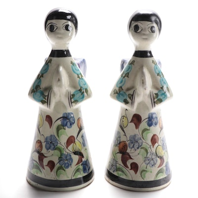 Mexican Hand-Painted Ceramic Angel Candle Holders
