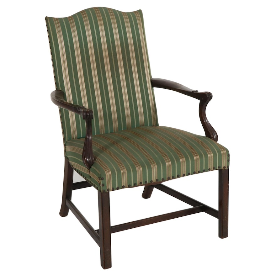 George III Style Striped Upholstered Camelback Armchair, 20th Century