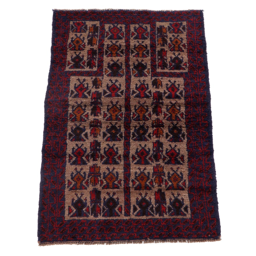 2'10 x 4'6 Hand-Knotted Afghan Balouch Tribal Rug