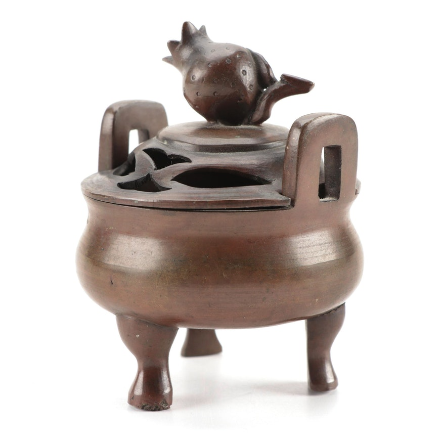 Chinese Cast Bronze Censer with Pomegranate Finial, 20th Century