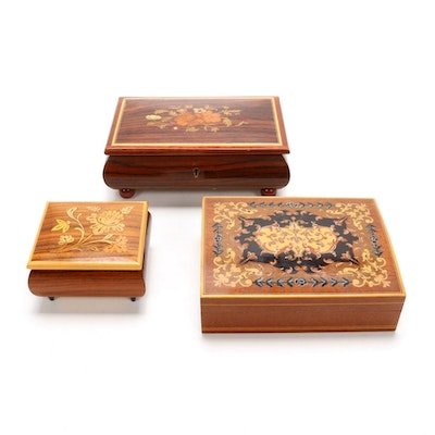 Marquetry Inlaid  Musical Jewelry Boxes and Decorative Box, Mid-Late 20th C.