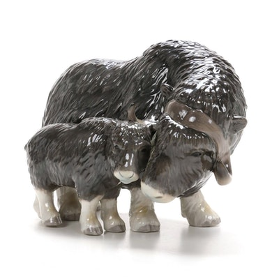 Royal Copenhagen Musk Ox with Calf Porcelain Figurine