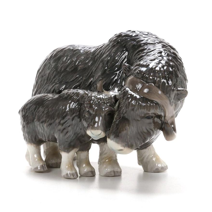 Royal Copenhagen Musk Ox with Calf Porcelain Figurine