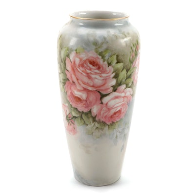 Limoges Hand-Painted Porcelain Vase with Rose Motif