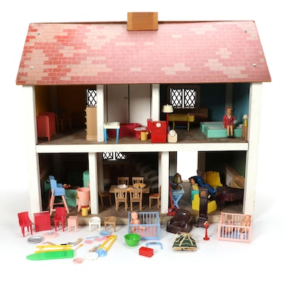 Painted Pressed Wood Doll House, Mid-20th Century