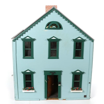 Painted Wood Doll House with Furniture and Accessories, Mid-20th Century