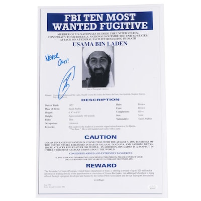 "Robert O'Neill Signed ""Never Quit"" Usama Bin Laden FBI Most Wanted Poster, JSA"
