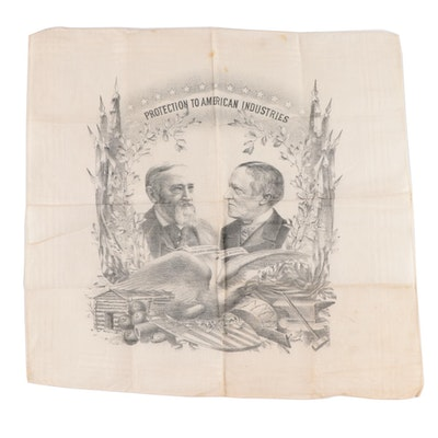 Benjamin Harrison and Levi Morton U.S. Presidential Campaign Handkerchief, 1889