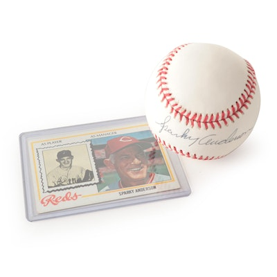 Sparky Anderson Signed Rawlings NL Baseball and 1978 Topps Reds Card, JSA COA