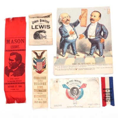 Grover Cleveland Trade Card, 1936 Democratic Convention Ribbon, More