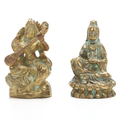 Saraswati Brass Deity Figurines